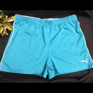 Puma-Turquoise Girls Shorts w/White Logo-Girls L